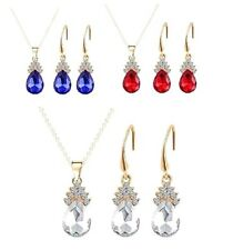 CRYSTAL & RHINESTONE NECKLACE & EARRINGS SET (blue, red or silver)