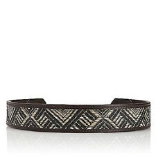 Tory Burch Brown Woven Leather Straw Waist Belt XS NWT