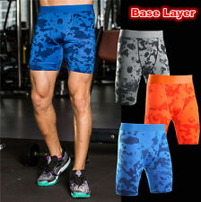 Men's Gym Compression Under Base Layer camouflage Shorts Pants  Athletic Tights