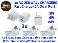 3x 3Ft Usb Chargin Cables + 3x Dual Wall Chargers Compatible With iPhone 5/6/7+