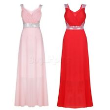 Women Long Formal Prom Dress Cocktail Party Ball Gown Chiffon Sequined Dress