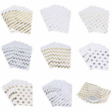 Gold Stripe Spotty Wave Paper Bags Party Wedding Sweet Favour Gift Bags Stickers