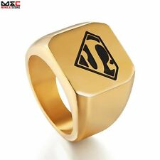 Vintage Golden DC Superman Hero Mens Ring Jewelry Stainless Steel Band Size 8-12