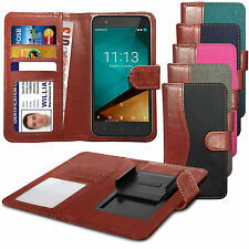 For HTC One X Clip On Fabric / PU Leather Wallet Case Cover