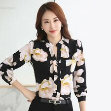 New Fashion Women Casual Stand Neck Chiffon Blouse Shirt Floral Print Ladies BLL