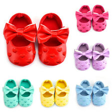 Baby Soft Sole Leather Shoes Infant Girl Toddler Moccasin Bowknot Sole 0-18M New
