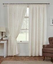 Como Cream Voile Curtains Lined Floral Embroided Design Tie backs Included