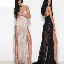 Women Sexy Sequined Backless V-neck Cocktail Evening Slip Split Maxi Long Dress