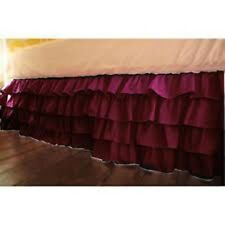 One Qty Ruffle Bed Skirt Egyptian Cotton 1000 TC Wine Solid Drop 15 Inch