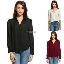 Womens Casual Long Sleeve Button Down Collar Solid Loose Basic Shirt WST