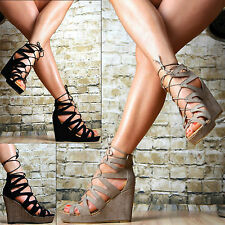SeXy Ladies Shoes Platform Wedges Sandals Strap Lace up Wedge heel Party