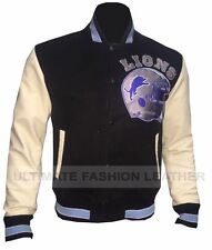 Replica Beverly Hill Cop Detroit Lions Letterman Jacket Real and Faux Leather