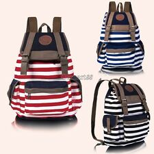 New Fashion Women Girls Backpack Canvas Stripe Leisure Bags School Bag 3 OK01