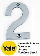 """3""""/75mm Yale House Door Numbers Numerals Chrome Brass 0 1 2 3 4 5 6 7 8 9 B -New"""