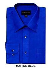 MEN DRESS SHIRTS BY DIMENSION CASUAL SOLID COLOR BUSINESS SHIRTS ROYAL BLUE