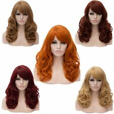 Women Long Curly Side Bang Synthetic Wave Natural Wigs Street Wind Performance