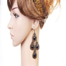 Vintage Black Gem Rhinestone Drop Hook Dangle Earrings Fashion Women Jewelry