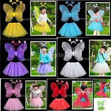 4pcs Fairy Girl Butterfly Wing Wand Headband Tutu Skirt Costume School Party Set