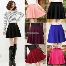 Women Candy Color Stretch Waist Plain Skater Flared Pleated Mini Skirt WST01