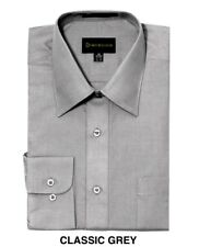 MEN DRESS SHIRTS BY DIMENSION FORMAL FIT SOLID COLOR BUSINESS SHIRTS LIGHT GREY