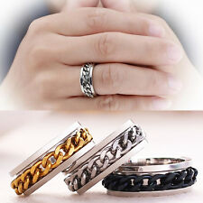 Silver/Black/Gold Rotatable Chain Stainless Steel Ring Men's Wedding Band Sz6-12