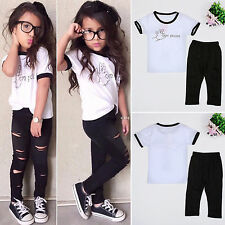 Fashion Kids Baby Girls Clothes Tops T-shirt Pants Leggings Outfits Set 2-7Y US