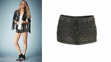 TOPSHOP KATE MOSS FESTIVAL DENIM STUD STUDDED LACE UP SHORTS HOTPANTS PANTS 6 8