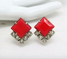 Vintage Art Deco Red Square and Crystal Screw Back Clip On Earrings Jewellery