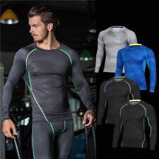 Mens Fitness Fish scales Compression shirt thermal underwear long sleeve T-shirt