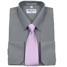 Men's Fancy French Cuff Tie Set Charcoal Dress Shirt & Lavender Tie By Berlioni