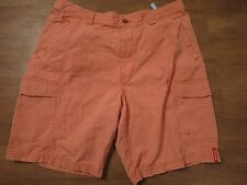 Tommy Bahama Relax Men's Orange/Beige Plaid Tencel/Cotton Cargo Shorts, Sz 36