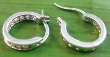 REAL 925 sterling silver  small 3 X 15mm  ROUND cz HOOPS earrings - TEEN GIRL
