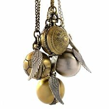 Retro Pocket Watch Quartz Pendant Necklace Chain Gift Bronze Ball Shape Wings