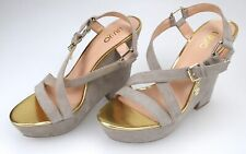 LIU JO WOMAN WEDGE SANDAL SHOES CHAMPAGNE AND GOLD CODE S14033 P0021 DEFECT