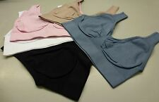 Pack of 5 Seamless Comfort Leisure/Sports Bras - Slate, Pink, Dove, Blk & White