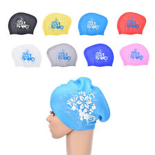 Women swimming caps Silicone Long Hair Girls Waterproof Swimming Cap Ear Cup R9B