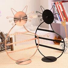Jewelry Display Rack Earrings Necklace Metal Stand Organizer Kitty Cat Shape