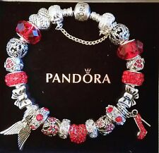 NEW Authentic PANDORA Silver BRACELET with Red Heart European Charm Beads #19