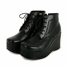 Women's square toe lace ups side zip thick platform high wedge heels ankle boots