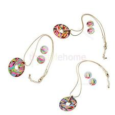 Vintage Gold Plated Round Pendant Flower Enamel Necklace Earrings Jewelry Set