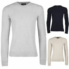 New Mens Plain Ribbed Long Sleeve Knitted Crew Neck Top Pullover Sweater Jumper