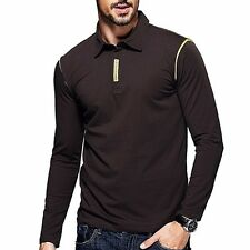 M L XL XXL Mens Polo Shirt Long Sleeve Lapel Collar Sports Casual T-shirt Coffee