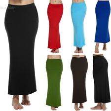ACEVOG Women Ladies Medium Elastic Waist Stretch Bodycon Pencil Skirt Maxi BLLT