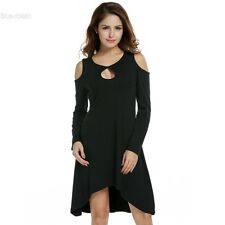 Women Off-shoulder Long Sleeve Shift Dress Asymmetric Hem Loose Casual Knee BLLT