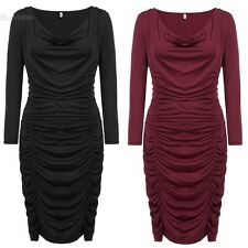 Women Plus Sizes Sexy Cowl Neck Long Sleeve Solid Draped Bodycon Pencil BLLT
