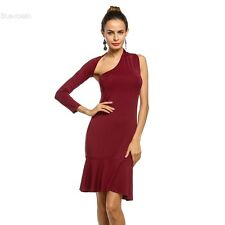 Women Sexy One Shoulder Long Sleeve Bodycon Backless Party Dress BLLT