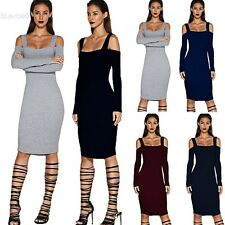 Women Sexy Bandage Backless Long Sleeve Evening Party Pencil Bodycon Mini BLLT