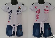 GIRLS KIDS SUMMER DENIM LOOK SHORTS AND T-SHIRT TOP SET OUTFIT COTTON 4-12 YEARS