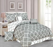 Galaxy 7-Piece Comforter Set Reversible Soft Oversized Bedding White & Gray