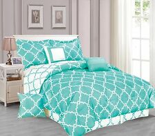 Galaxy 7-Piece Comforter Set Reversible Soft Oversized Bedding White & Turquoise